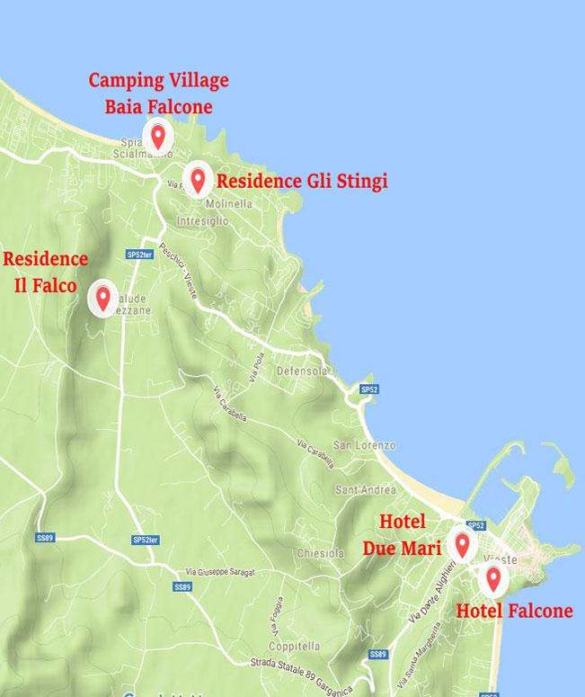 Mappa delle strutture del Gruppo Falcone a Vieste
